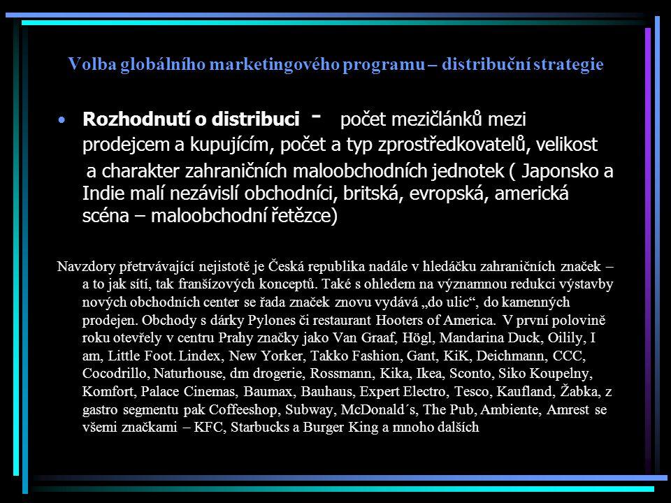 Volba globálního marketingového programu – distribuční strategie Rozhodnutí o distribuci - počet mezičlánků mezi prodejcem a kupujícím, počet a typ zp