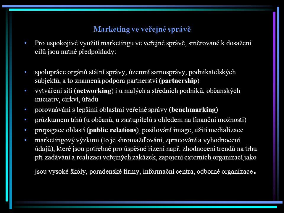 Marketing ve veřejné správě Pro uspokojivé využití marketingu ve veřejné správě, směrované k dosažení cílů jsou nutné předpoklady: spolupráce orgánů s