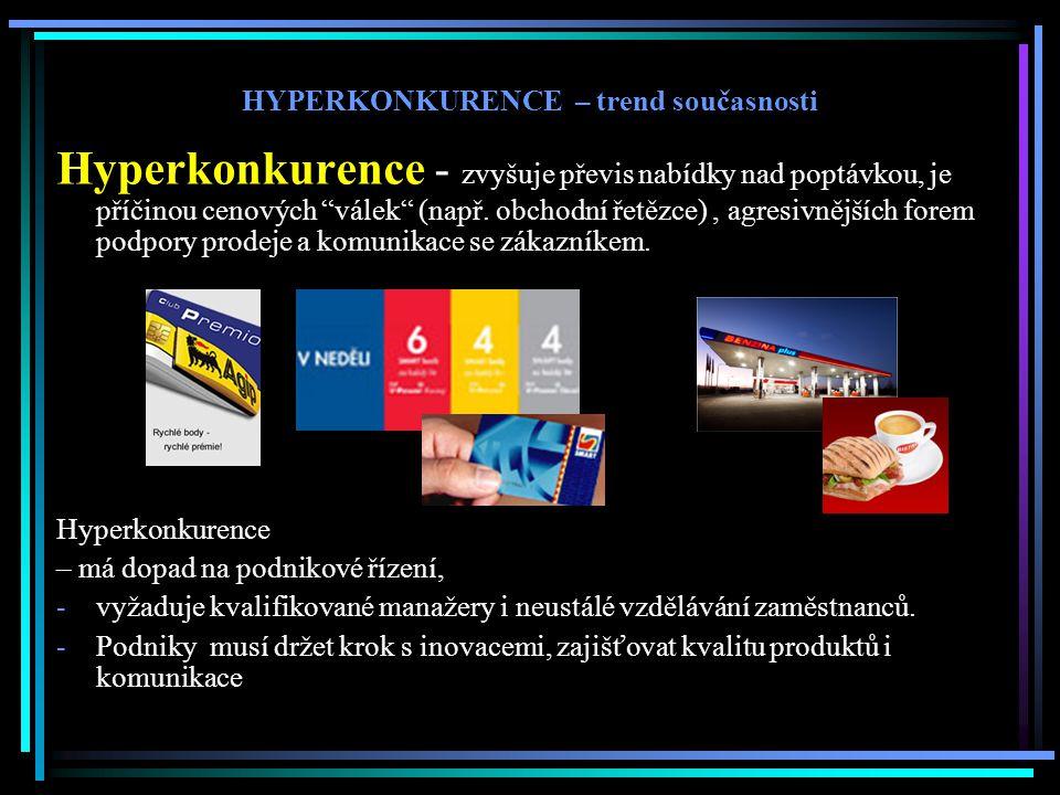 """Hyperkonkurence - zvyšuje převis nabídky nad poptávkou, je příčinou cenových """"válek"""" (např. obchodní řetězce), agresivnějších forem podpory prodeje a"""