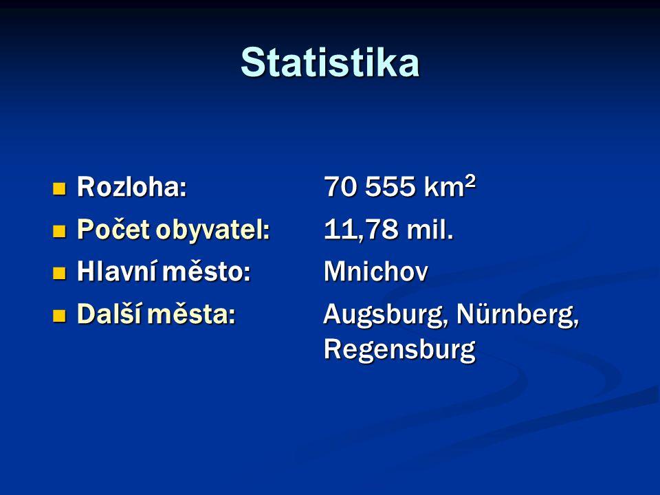 Statistika Rozloha: 70 555 km 2 Rozloha: 70 555 km 2 Počet obyvatel: 11,78 mil. Počet obyvatel: 11,78 mil. Hlavní město: Mnichov Hlavní město: Mnichov