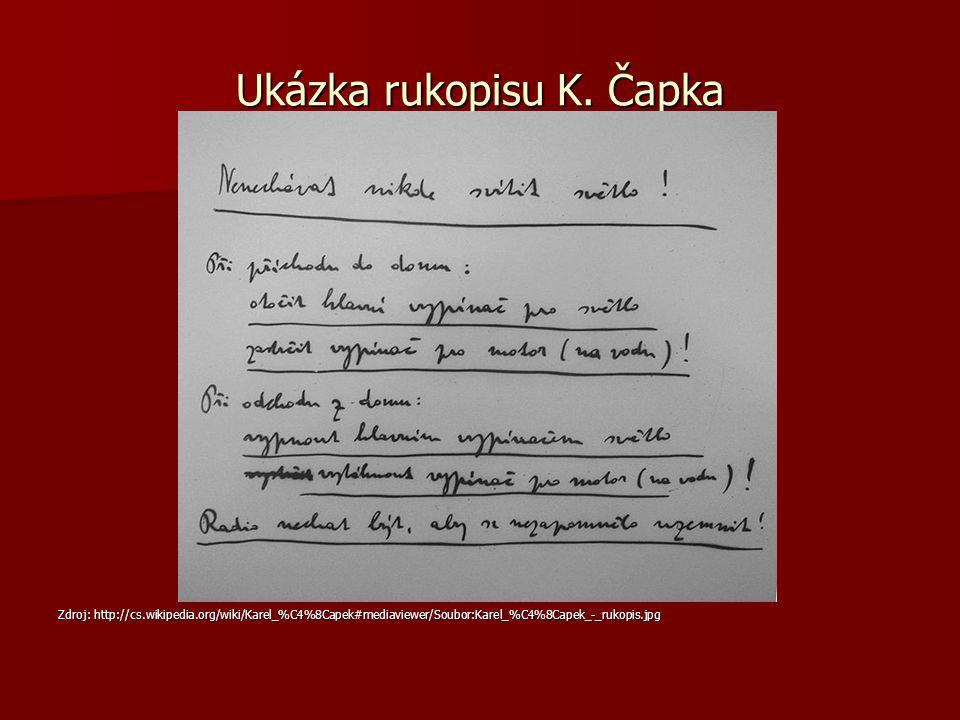 Ukázka rukopisu K.
