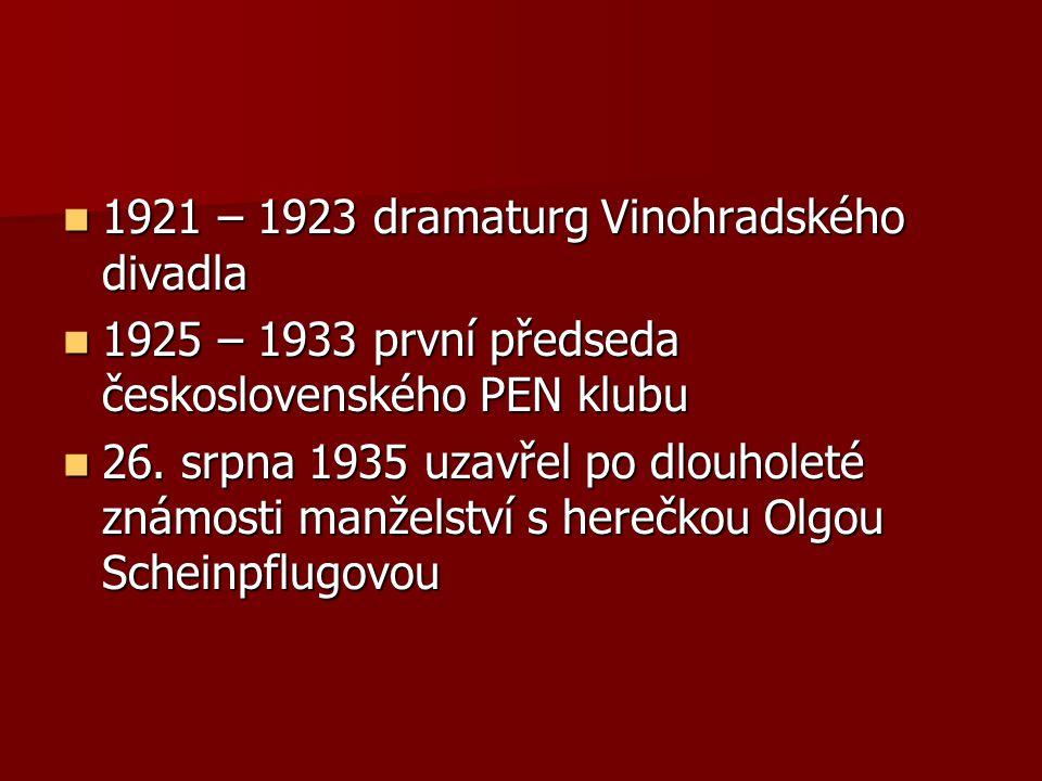 1921 – 1923 dramaturg Vinohradského divadla 1921 – 1923 dramaturg Vinohradského divadla 1925 – 1933 první předseda československého PEN klubu 1925 – 1