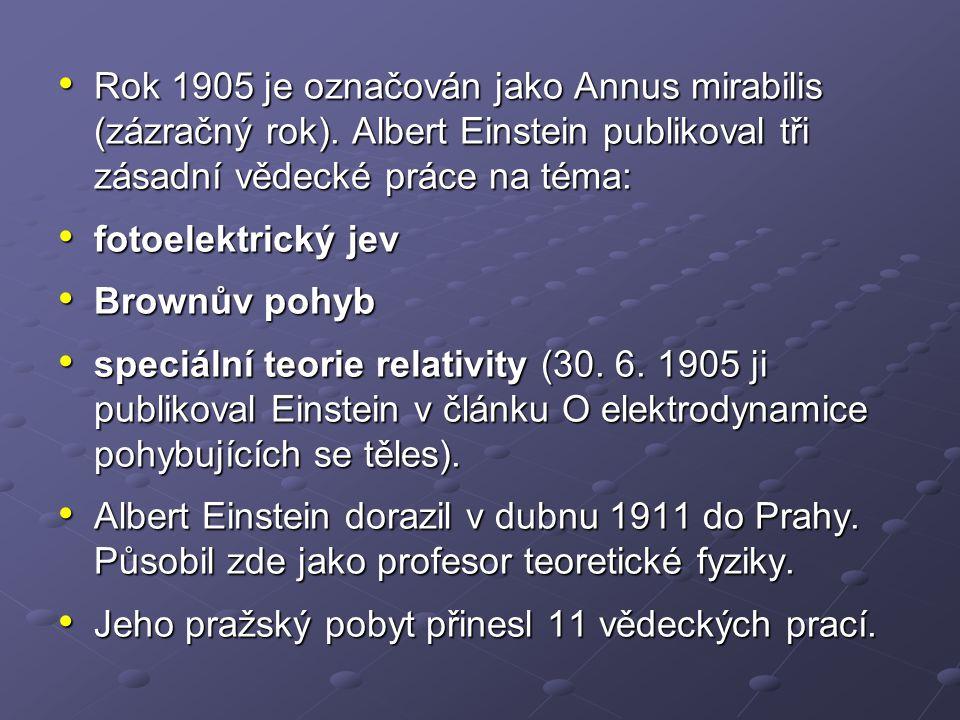 Rok 1905 je označován jako Annus mirabilis (zázračný rok). Albert Einstein publikoval tři zásadní vědecké práce na téma: Rok 1905 je označován jako An