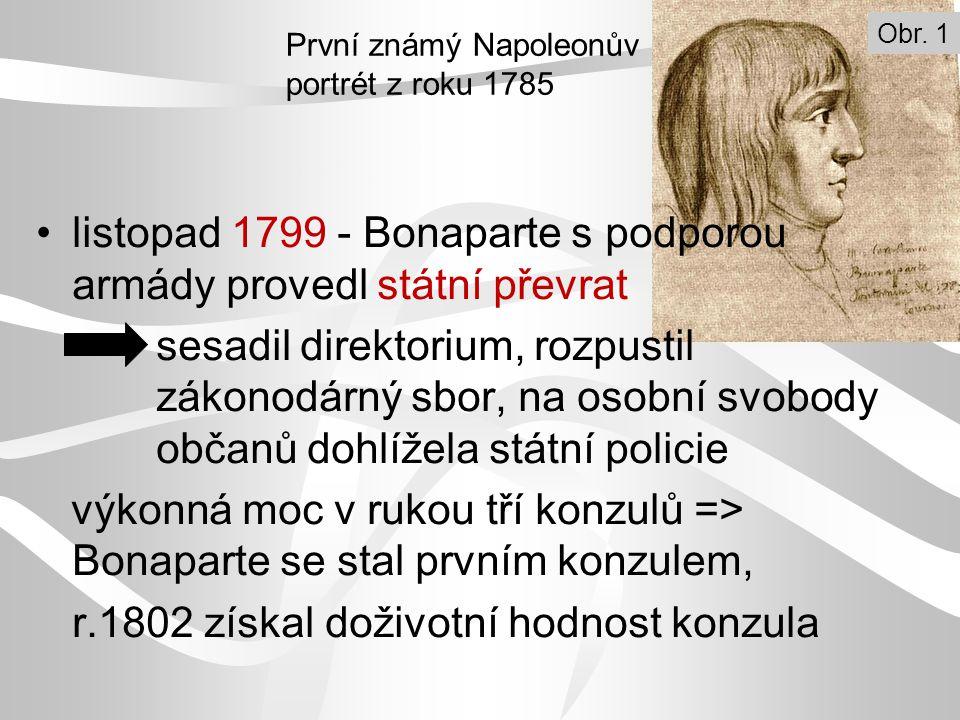listopad 1799 - Bonaparte s podporou armády provedl státní převrat sesadil direktorium, rozpustil zákonodárný sbor, na osobní svobody občanů dohlížela