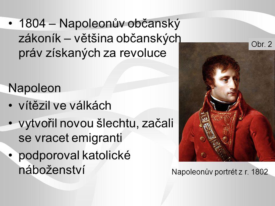 1804 – Napoleonův občanský zákoník – většina občanských práv získaných za revoluce Napoleon vítězil ve válkách vytvořil novou šlechtu, začali se vrace
