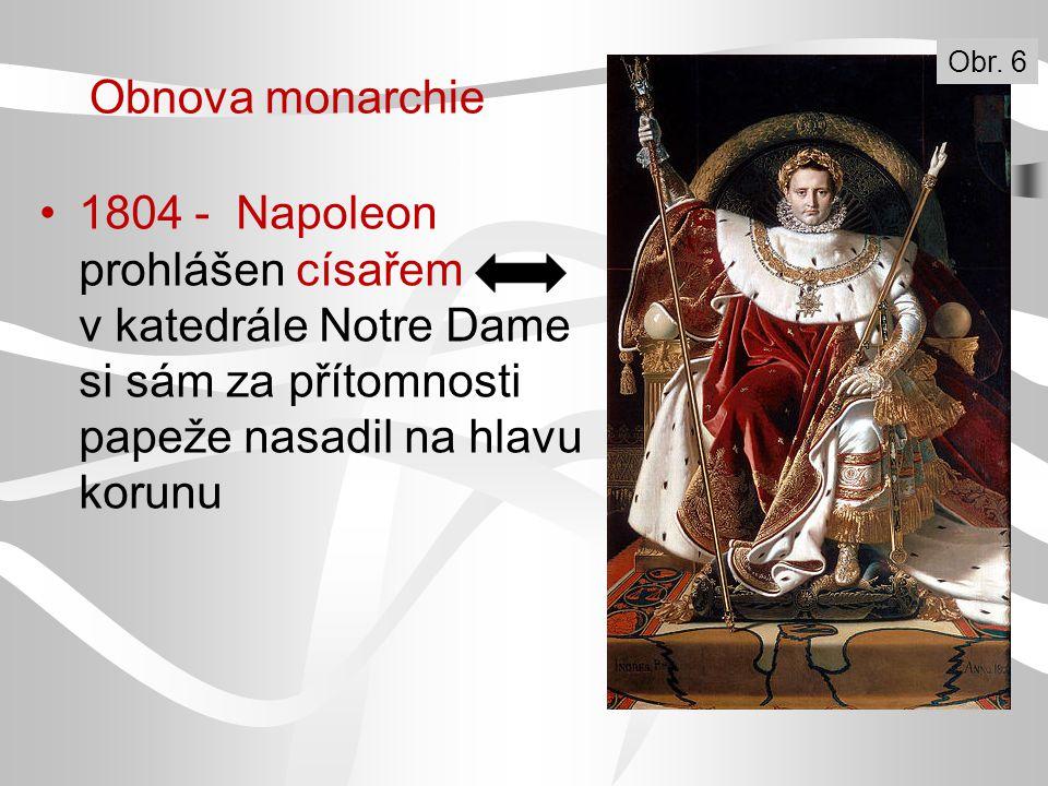 1804 - Napoleon prohlášen císařem v katedrále Notre Dame si sám za přítomnosti papeže nasadil na hlavu korunu Obr. 6 Obnova monarchie