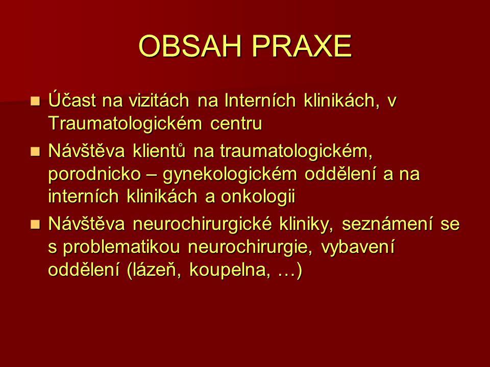 OBSAH PRAXE Účast na vizitách na Interních klinikách, v Traumatologickém centru Účast na vizitách na Interních klinikách, v Traumatologickém centru Ná