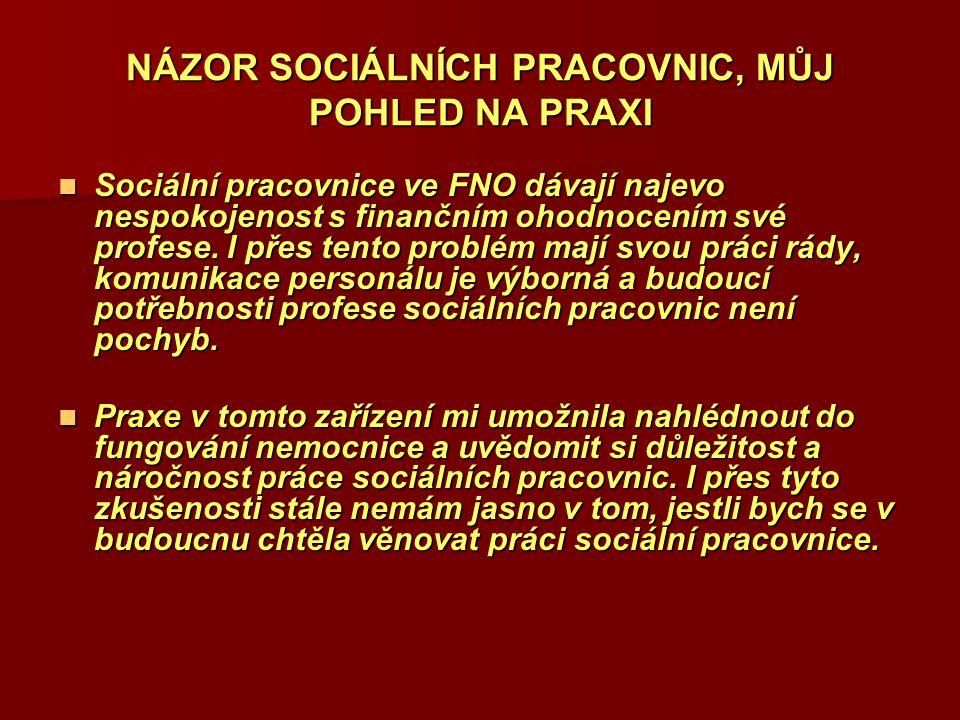 NÁZOR SOCIÁLNÍCH PRACOVNIC, MŮJ POHLED NA PRAXI Sociální pracovnice ve FNO dávají najevo nespokojenost s finančním ohodnocením své profese. I přes ten