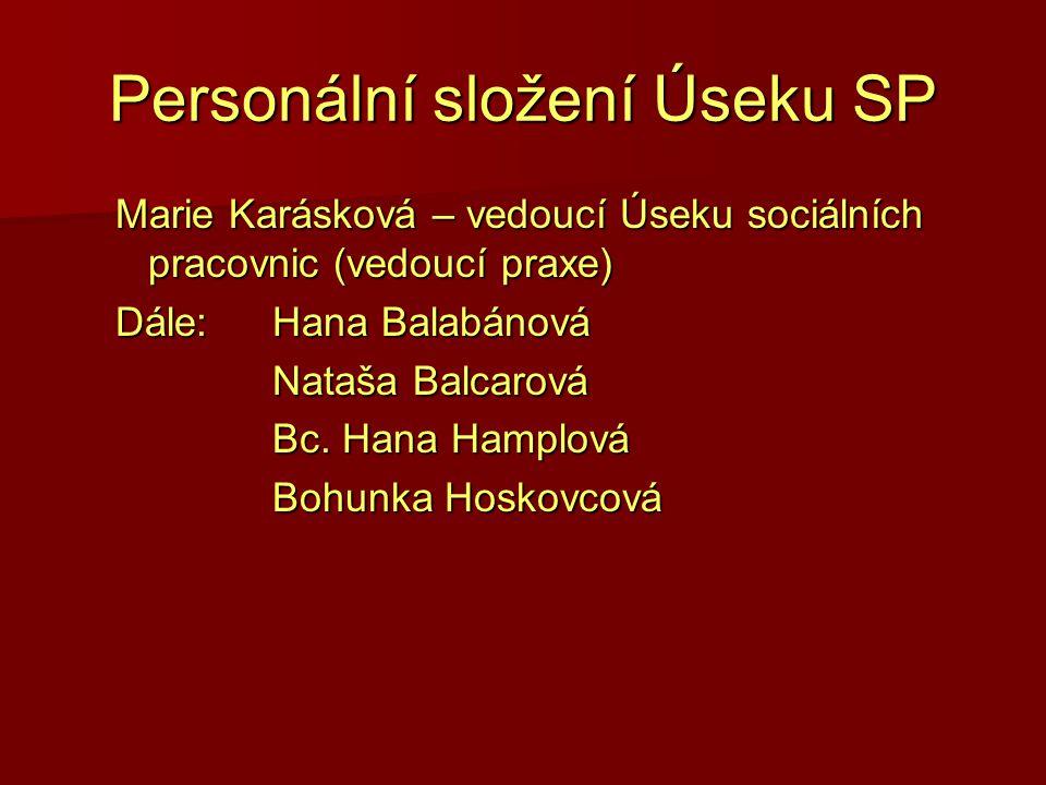 Personální složení Úseku SP Marie Karásková – vedoucí Úseku sociálních pracovnic (vedoucí praxe) Dále: Hana Balabánová Nataša Balcarová Bc. Hana Hampl
