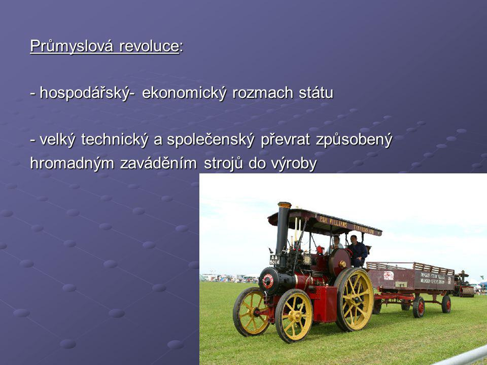 1) VĚDECKO – TECHNICKÁ REVOLUCE - byla zahájena vynálezem parního stroje (18.stol) - byla zahájena vynálezem parního stroje (18.stol) 2) VĚDECKO – TECHNICKÁ REVOLUCE - zahájena objevem elektrického proudu (19.-20.stol.) - zahájena objevem elektrického proudu (19.-20.stol.) 3) VĚDECKO – TECHNICKÁ REVOLUCE - zahájena s rozvojem informačních technologií - zahájena s rozvojem informačních technologií - konec 20.století - konec 20.století Vývojové rozdělení industrializace