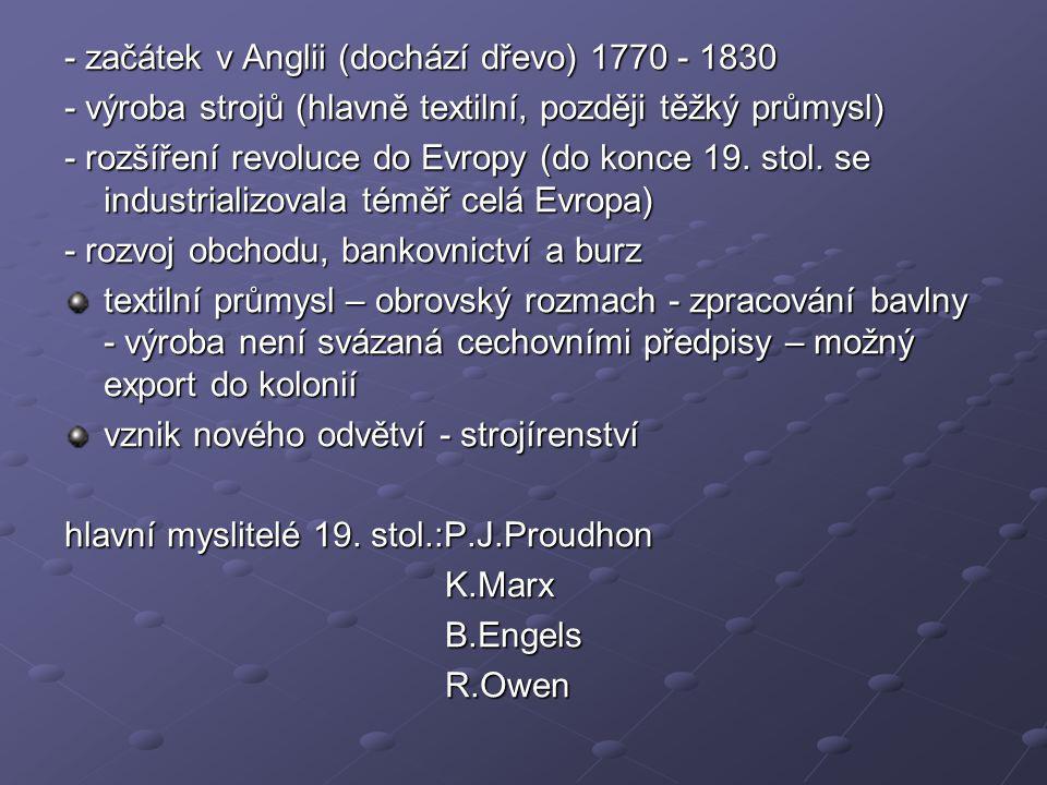 Společenské důsledky průmyslové revoluce Ohromný přírůstek počtu obyvatelstva Rostou města jako střediska obchodu a průmyslu Poč.