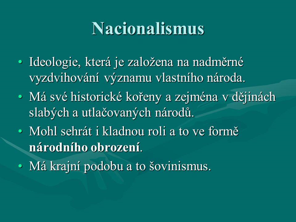 Nacionalismus Ideologie, která je založena na nadměrné vyzdvihování významu vlastního národa.Ideologie, která je založena na nadměrné vyzdvihování výz