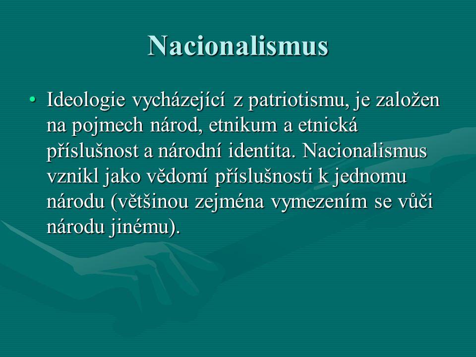 Nacionalismus Ideologie vycházející z patriotismu, je založen na pojmech národ, etnikum a etnická příslušnost a národní identita. Nacionalismus vznikl