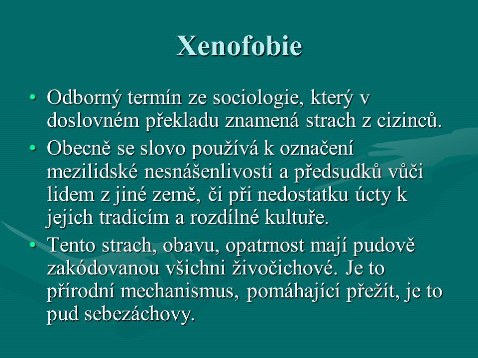 Xenofobie Odborný termín ze sociologie, který v doslovném překladu znamená strach z cizinců.Odborný termín ze sociologie, který v doslovném překladu z