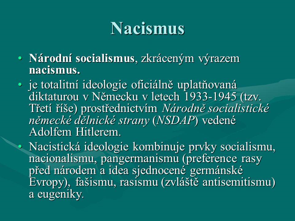 Nacismus Adolf Hitler - německý národně socialistický politik, diktátor a ideolog nacismu.