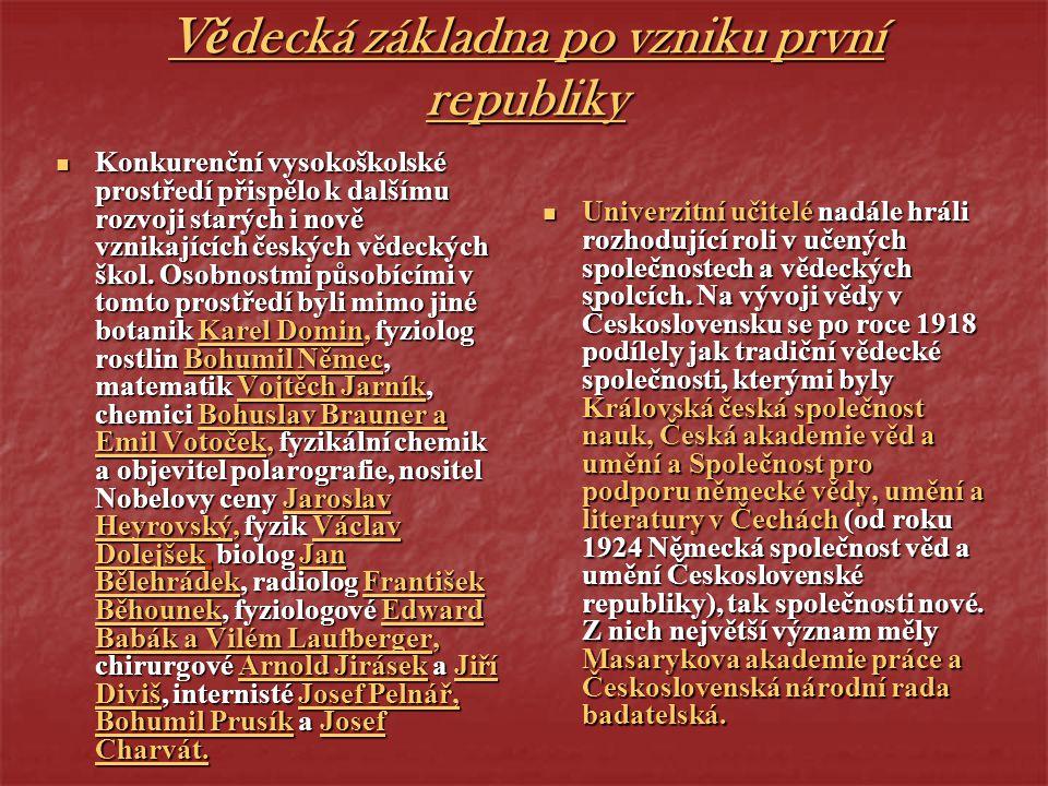 Vědecká základna po vzniku první republiky Konkurenční vysokoškolské prostředí přispělo k dalšímu rozvoji starých i nově vznikajících českých vědeckýc
