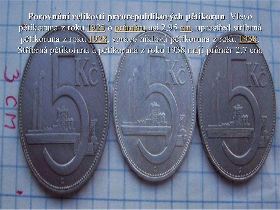 Porovnání velikosti prvorepublikových pětikorun. Vlevo pětikoruna z roku 1925 o průměru asi 2,95 cm, uprostřed stříbrná pětikoruna z roku 1928, vpravo