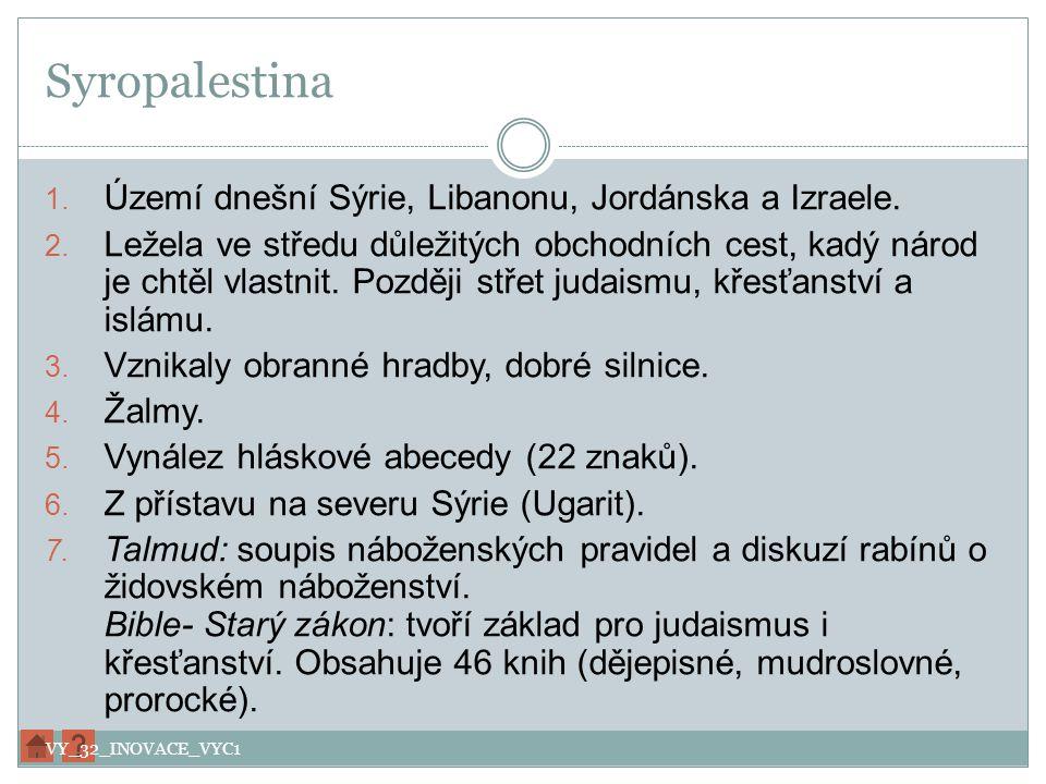 Syropalestina 1. Území dnešní Sýrie, Libanonu, Jordánska a Izraele. 2. Ležela ve středu důležitých obchodních cest, kadý národ je chtěl vlastnit. Pozd