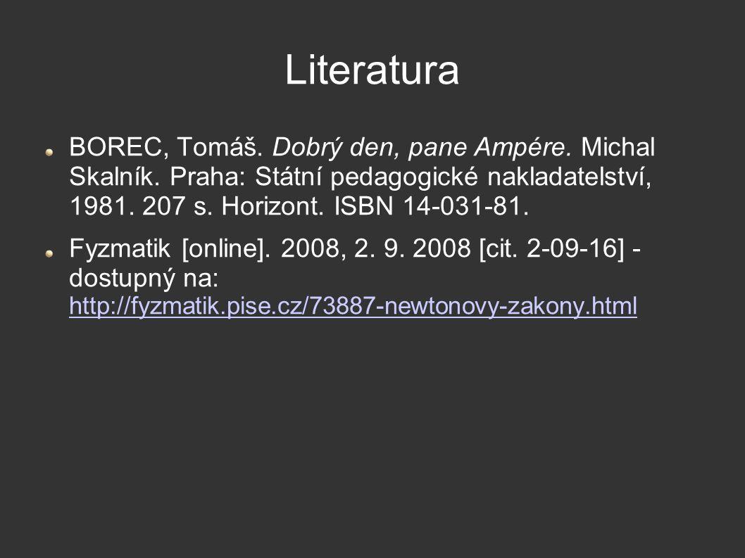 Literatura BOREC, Tomáš. Dobrý den, pane Ampére. Michal Skalník. Praha: Státní pedagogické nakladatelství, 1981. 207 s. Horizont. ISBN 14-031-81. Fyzm