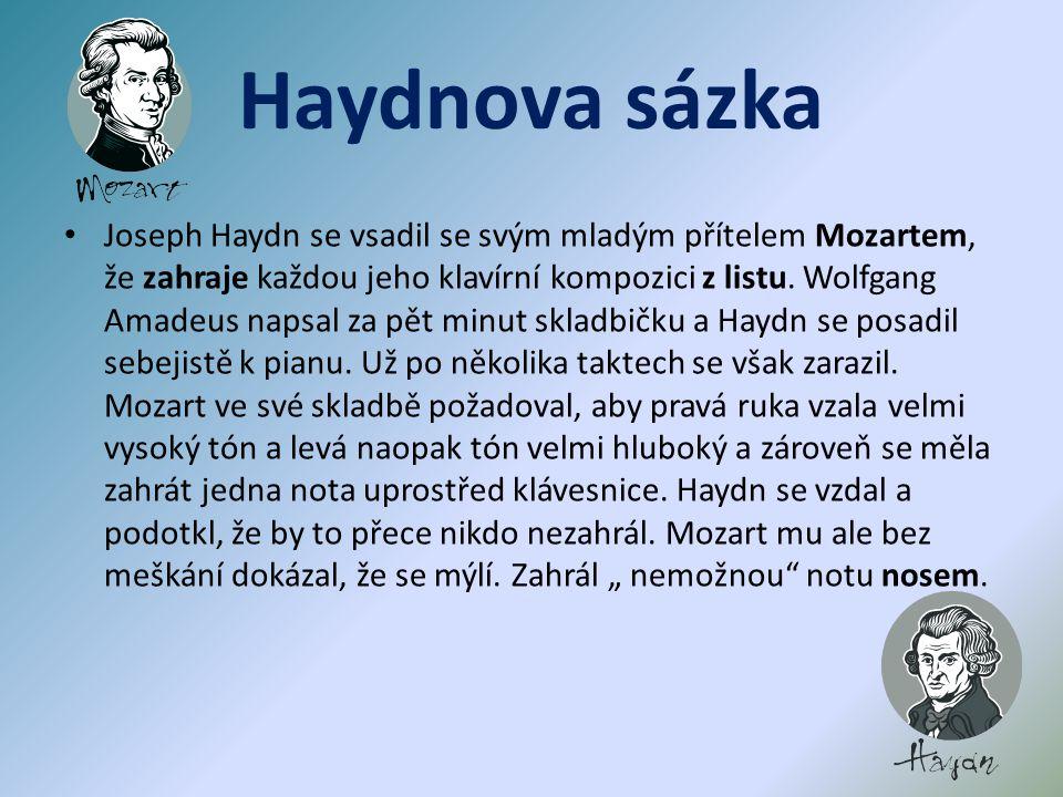 Dílo Josepha Haydna zkomponoval : 104 symfonií Londýnské symfonie ( posledních 12 symfonií ) oratoria: Stvoření světa Roční doby 83 smyčcových kvartet Císařský kvartet ( melodie německé národní hymny ) 52 klavírních sonát 24 oper vokální, světská i církevní hudba