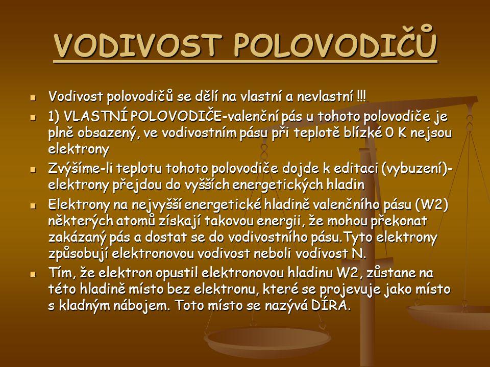 VODIVOST POLOVODIČŮ Vodivost polovodičů se dělí na vlastní a nevlastní !!! 1) VLASTNÍ POLOVODIČE-valenční pás u tohoto polovodiče je plně obsazený, ve