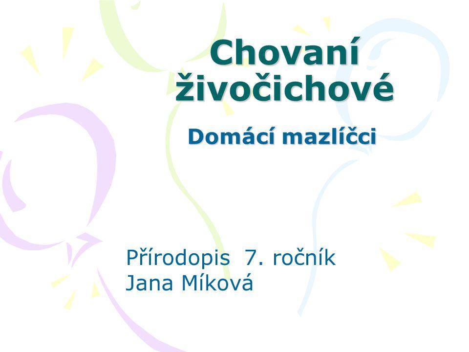 Chovaní živočichové Domácí mazlíčci Přírodopis 7. ročník Jana Míková