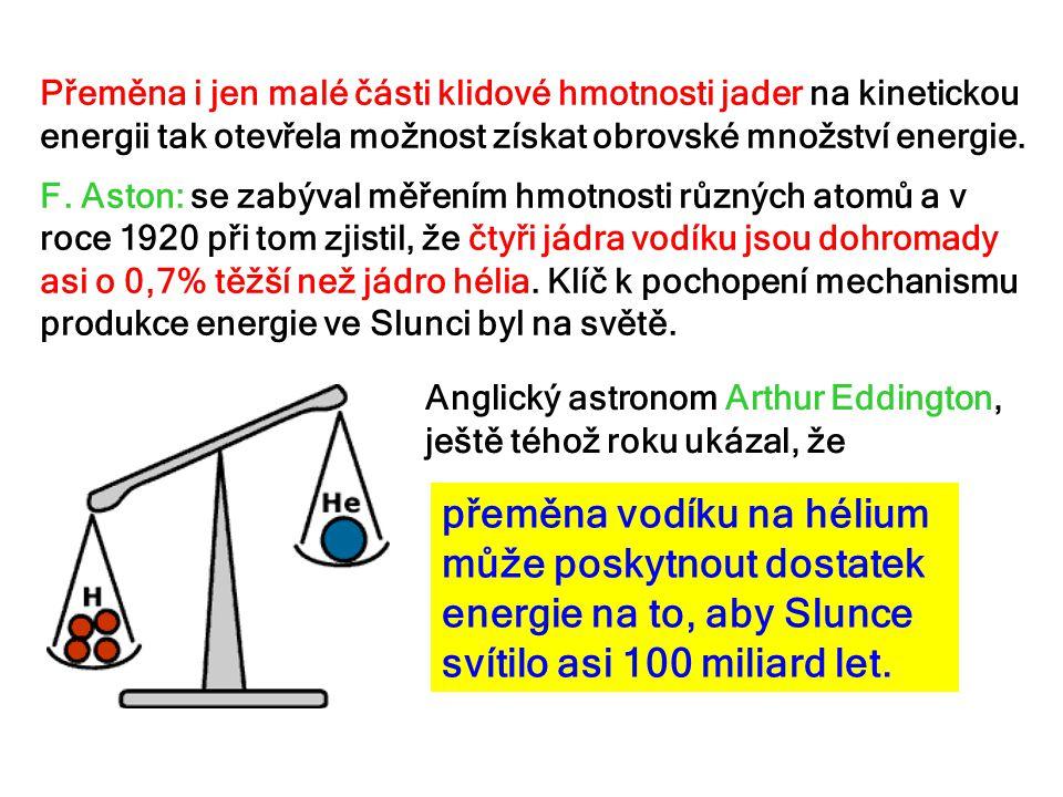 Přeměna i jen malé části klidové hmotnosti jader na kinetickou energii tak otevřela možnost získat obrovské množství energie. F. Aston: se zabýval měř