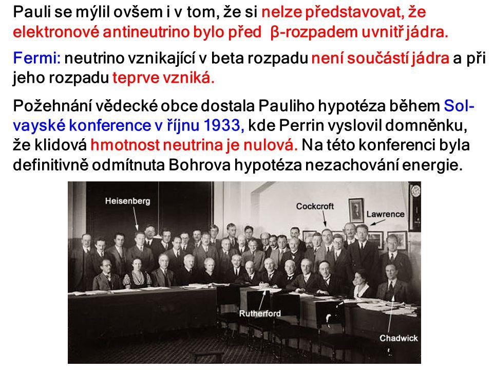 Pauli se mýlil ovšem i v tom, že si nelze představovat, že elektronové antineutrino bylo před β-rozpadem uvnitř jádra. Fermi: neutrino vznikající v be