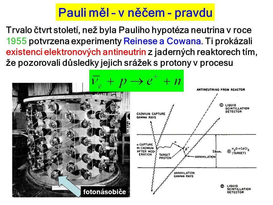 Pauli měl – v něčem - pravdu Trvalo čtvrt století, než byla Pauliho hypotéza neutrina v roce 1955 potvrzena experimenty Reinese a Cowana. Ti prokázali