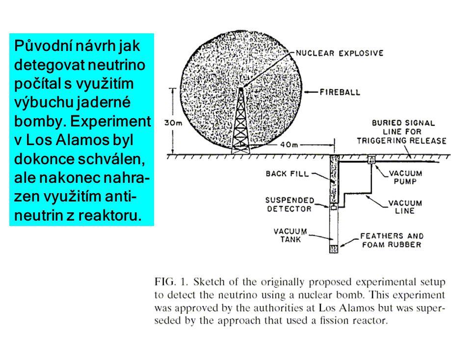 Původní návrh jak detegovat neutrino počítal s využitím výbuchu jaderné bomby. Experiment v Los Alamos byl dokonce schválen, ale nakonec nahra- zen vy
