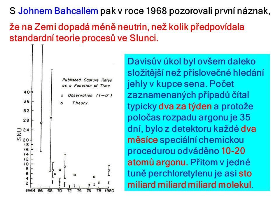 S Johnem Bahcallem pak v roce 1968 pozorovali první náznak, že na Zemi dopadá méně neutrin, než kolik předpovídala standardní teorie procesů ve Slunci
