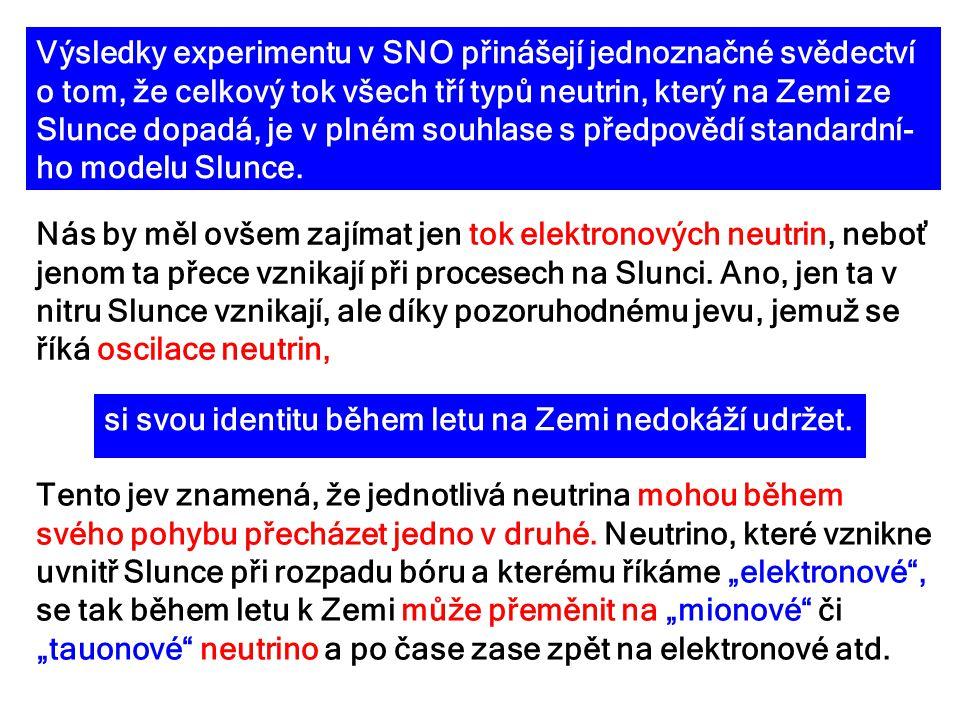 Výsledky experimentu v SNO přinášejí jednoznačné svědectví o tom, že celkový tok všech tří typů neutrin, který na Zemi ze Slunce dopadá, je v plném so