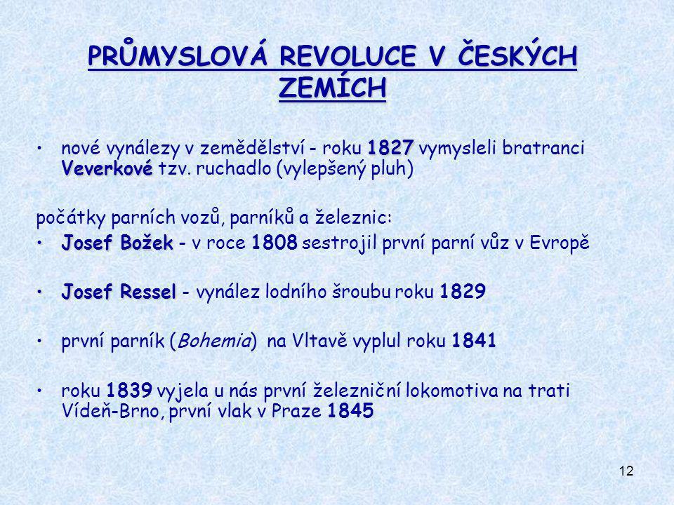 12 PRŮMYSLOVÁ REVOLUCE V ČESKÝCH ZEMÍCH 1827 Veverkovénové vynálezy v zemědělství - roku 1827 vymysleli bratranci Veverkové tzv. ruchadlo (vylepšený p