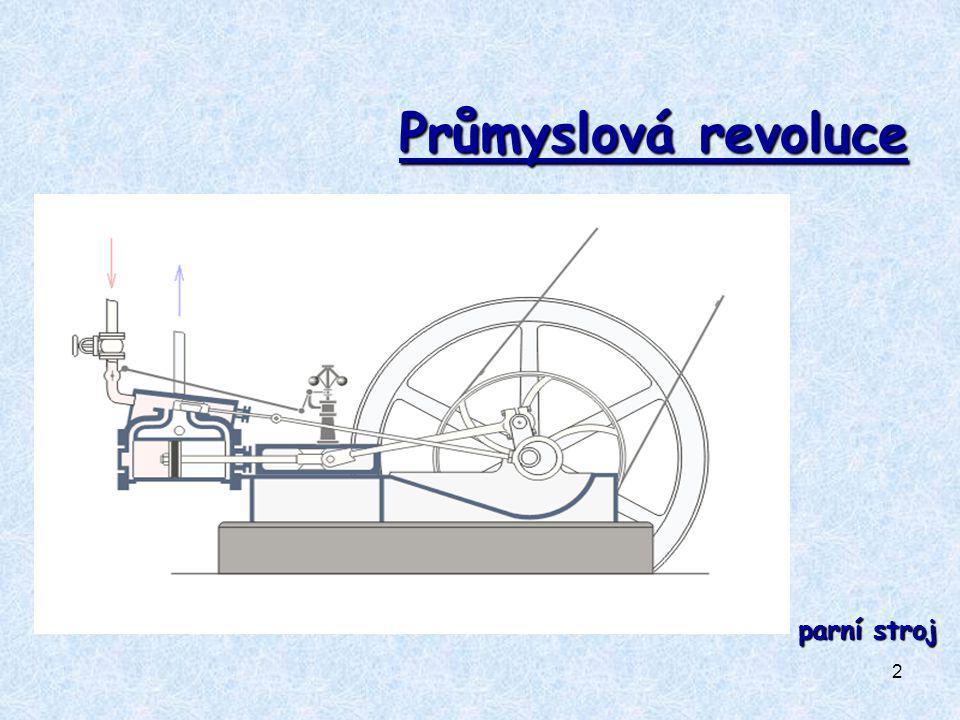 3 PRŮMYSLOVÁ REVOLUCE (1770 – 1830) industrializace = velký technický a hospodářský rozmach způsobený hromadným zaváděním strojů do výroby ( industrializace ) manufaktury nahrazovány továrnami Angliekolébkou průmyslové revoluce Anglie PŘÍČINY REVOLUCE PŘÍČINY REVOLUCE:hromadění kapitálu volná pracovní síla dostatek surovin technický rozvoj - nové technologie a vědecké objevy