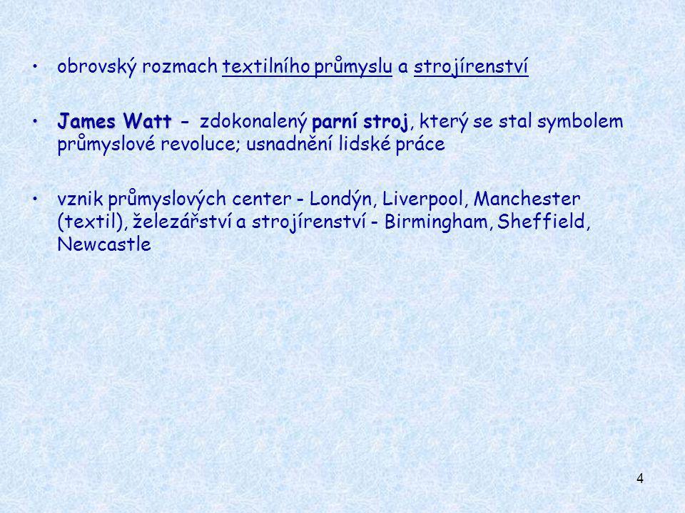 4 obrovský rozmach textilního průmyslu a strojírenství James WattJames Watt - zdokonalený parní stroj, který se stal symbolem průmyslové revoluce; usn