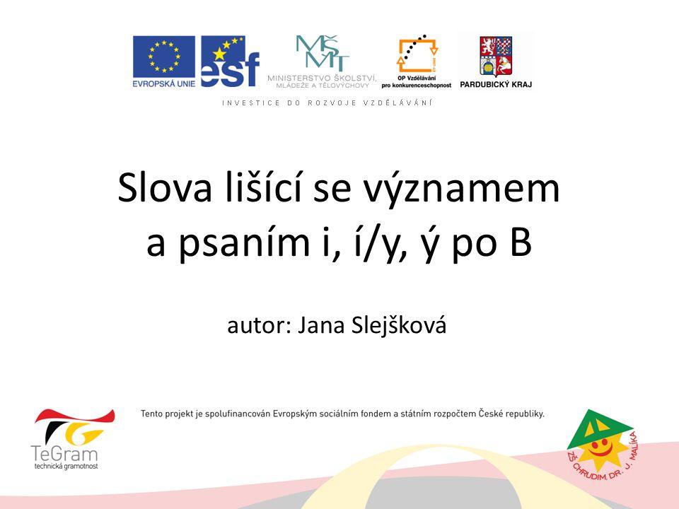 Slova lišící se významem a psaním i, í/y, ý po B autor: Jana Slejšková