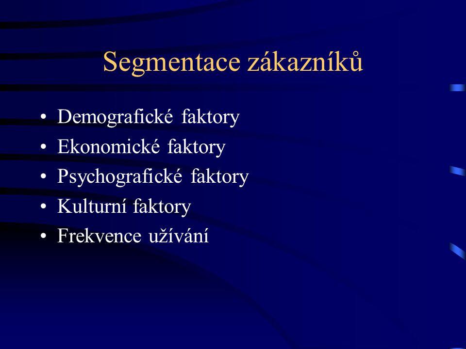 Segmentace zákazníků Demografické faktory Ekonomické faktory Psychografické faktory Kulturní faktory Frekvence užívání