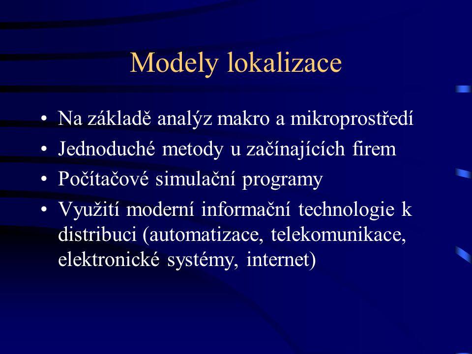 Modely lokalizace Na základě analýz makro a mikroprostředí Jednoduché metody u začínajících firem Počítačové simulační programy Využití moderní informační technologie k distribuci (automatizace, telekomunikace, elektronické systémy, internet)
