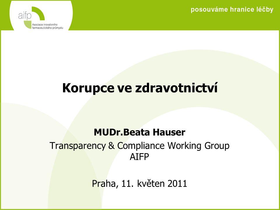 Korupce ve zdravotnictví MUDr.Beata Hauser Transparency & Compliance Working Group AIFP Praha, 11. květen 2011