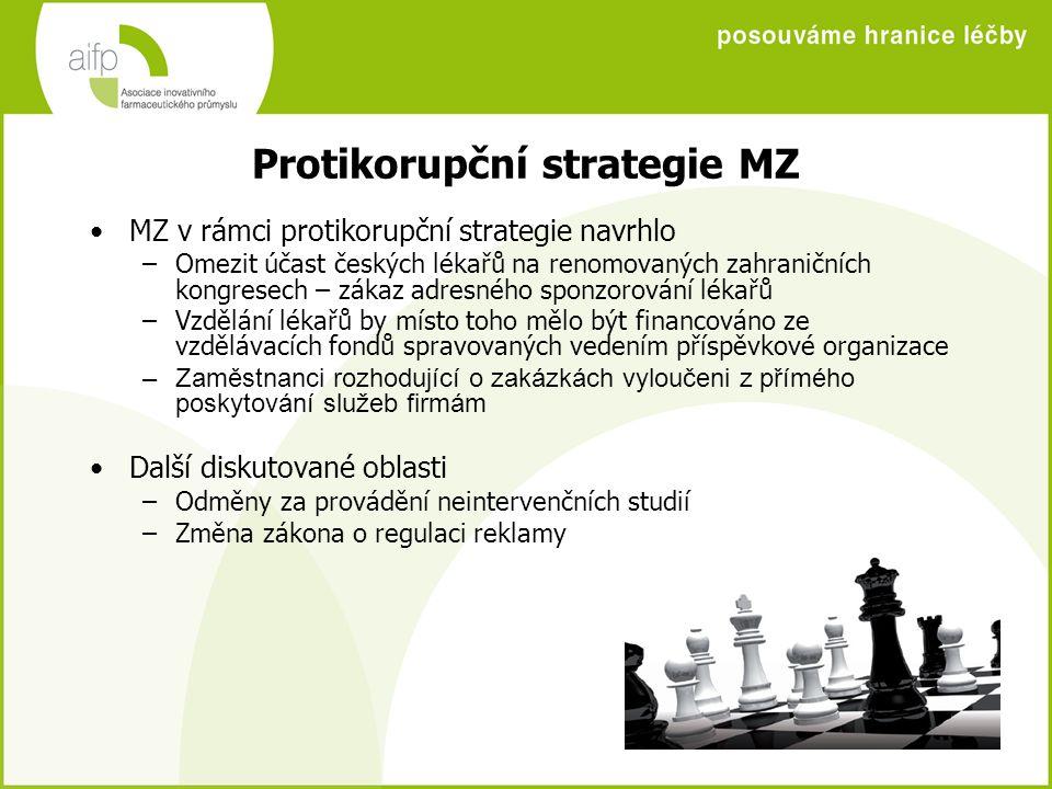 Protikorupční strategie MZ MZ v rámci protikorupční strategie navrhlo –Omezit účast českých lékařů na renomovaných zahraničních kongresech – zákaz adr