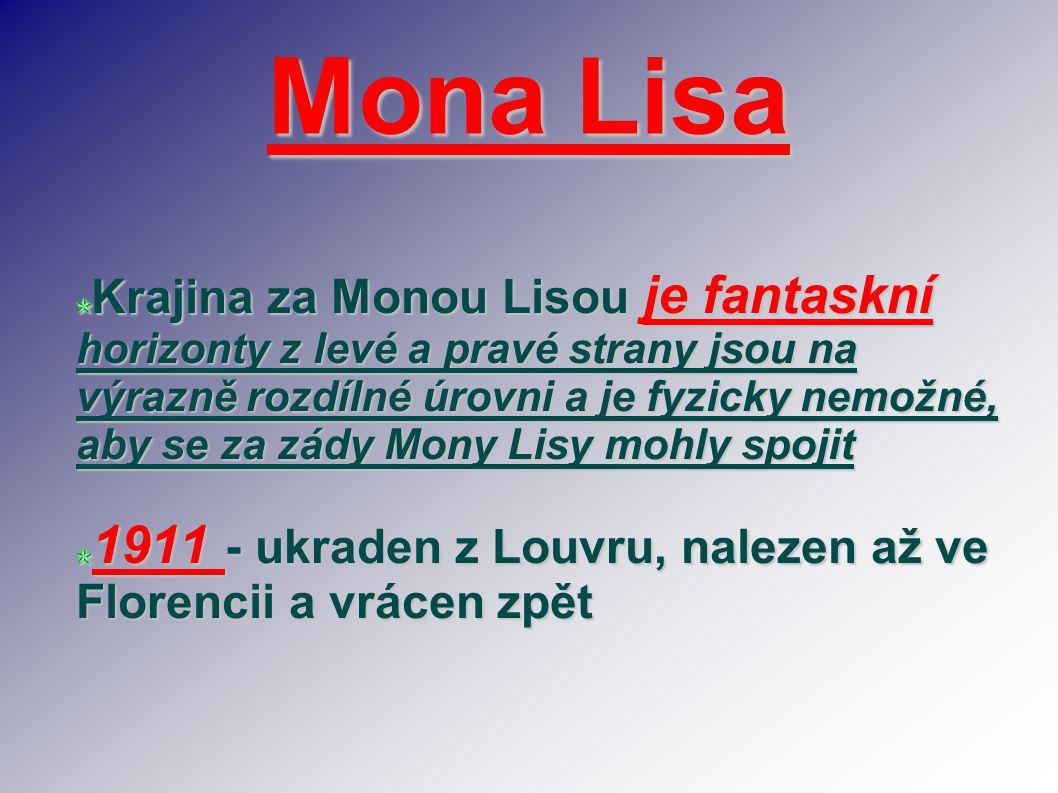 Mona Lisa Krajina za Monou Lisou je fantaskní horizonty z levé a pravé strany jsou na výrazně rozdílné úrovni a je fyzicky nemožné, aby se za zády Mon