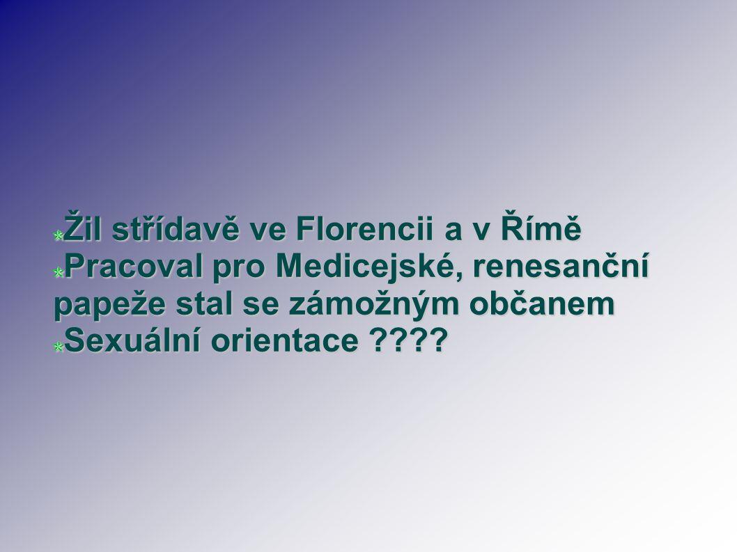 Žil střídavě ve Florencii a v Římě Pracoval pro Medicejské, renesanční papeže stal se zámožným občanem Sexuální orientace ????