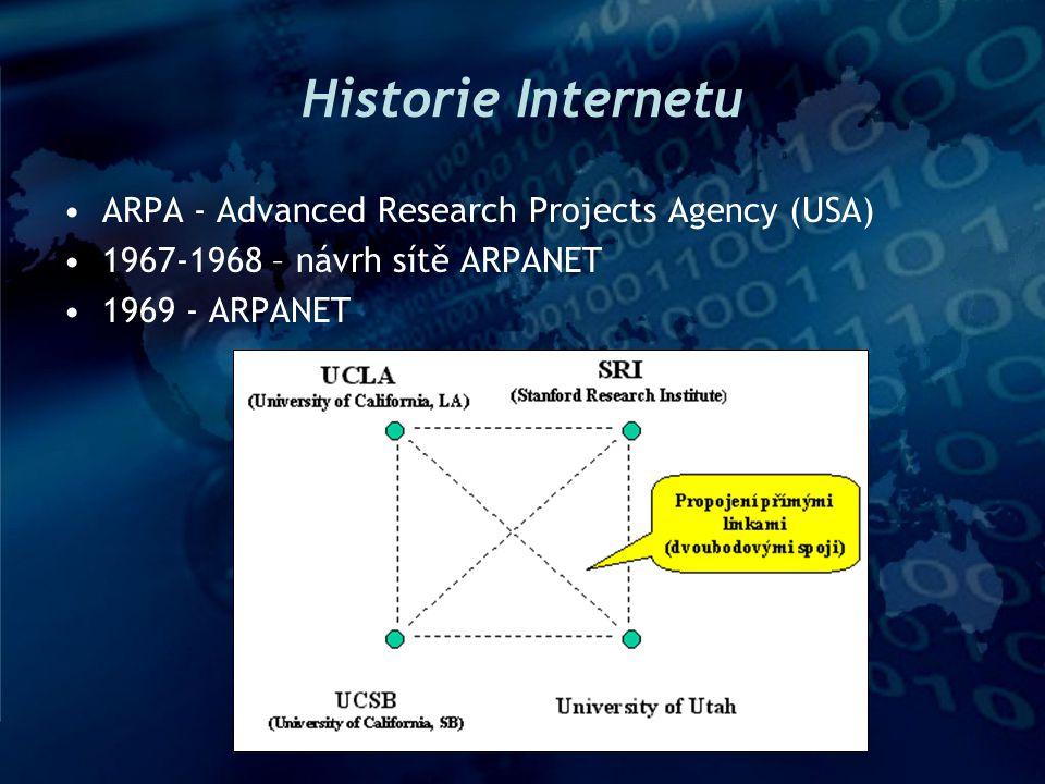 Historie Internetu II 1971 – 16 uzlů ARPANETu –NCP (Network Control Protocol) 1971 – INWG - InterNetworking Working Group –vybudování nových protokolů –TCP/IP 1977 – vznik TCP/IP 1980 – TCP/IP zaváděno do praxe 1983 – celý ARPANET na TCP/IP