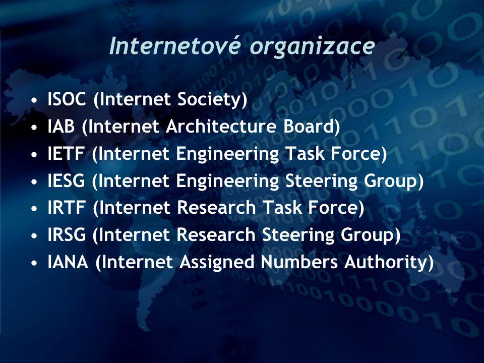 Standardizační orgány pod ISOC ISOC: (http://www.isoc.org) –zastřešuje, reprezentuje vůči jiným organizacím a orgánům IAB: (http://www.iab.org) –řídí standardizační práci, přijímá strategická rozhodnutí, formálně vydává dokumenty RFC IESG,IRSG: – Steering Groups , řídí práci IETF a IRTF, které mají velmi volnou organizaci vnáší řád do chaosu (kompenzují to, že samotné IETF a IRTF nemají žádné řádné formální členství ….) IAB IRSG IRTF IETF IESG vědecko-výzkumné skupiny oblast pracovní skupiny