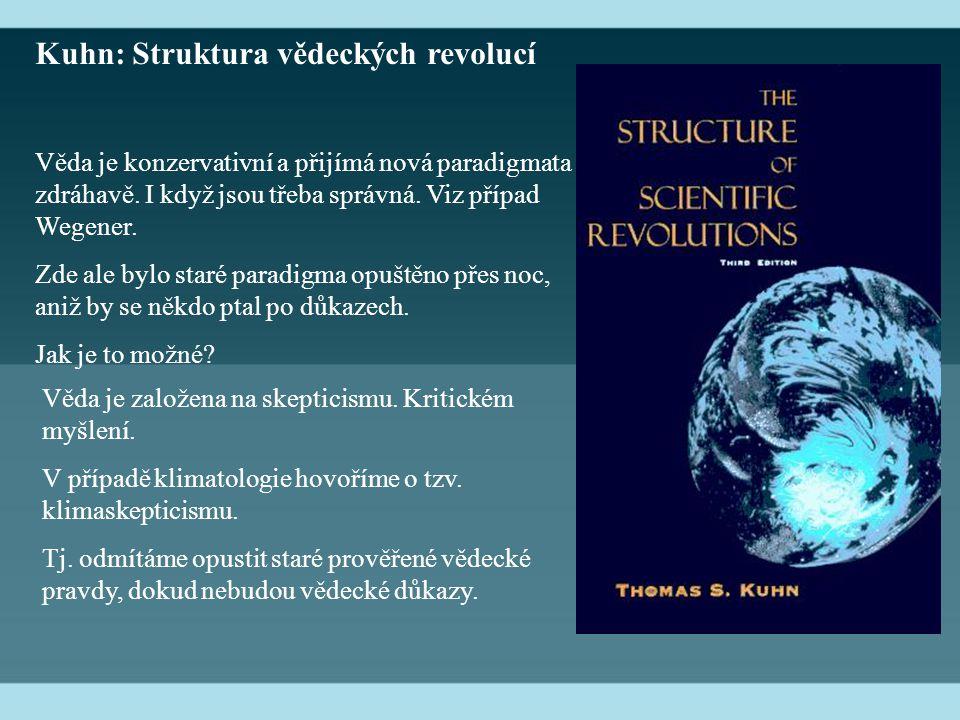 Kuhn: Struktura vědeckých revolucí Věda je konzervativní a přijímá nová paradigmata zdráhavě.