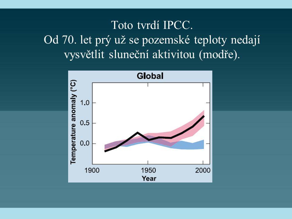 Toto tvrdí IPCC. Od 70. let prý už se pozemské teploty nedají vysvětlit sluneční aktivitou (modře).