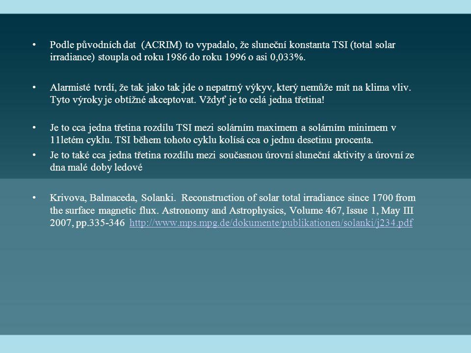 Podle původních dat (ACRIM) to vypadalo, že sluneční konstanta TSI (total solar irradiance) stoupla od roku 1986 do roku 1996 o asi 0,033%.