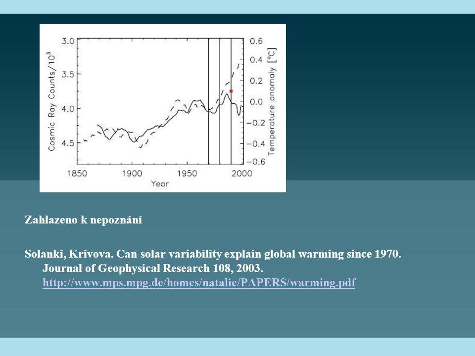 Zahlazeno k nepoznání Solanki, Krivova. Can solar variability explain global warming since 1970.