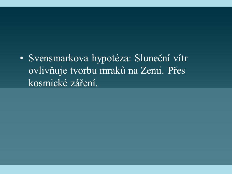 Svensmarkova hypotéza: Sluneční vítr ovlivňuje tvorbu mraků na Zemi. Přes kosmické záření.