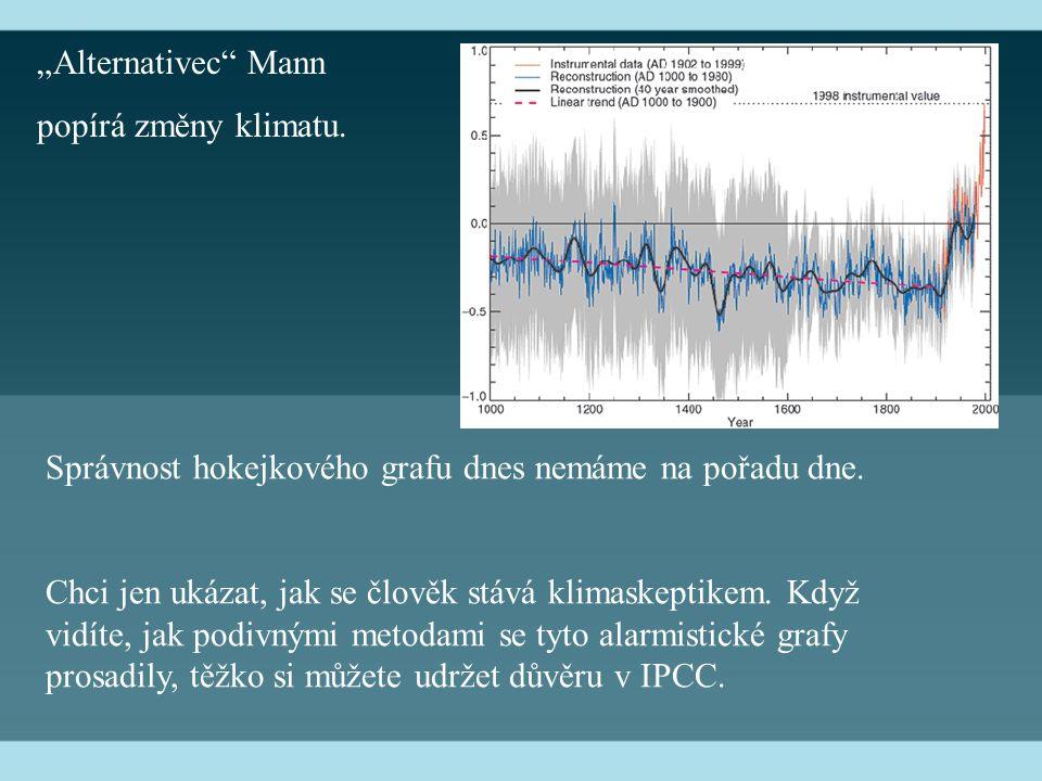 """""""Alternativec Mann popírá změny klimatu. Správnost hokejkového grafu dnes nemáme na pořadu dne."""